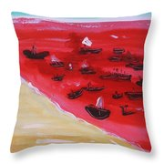 Fishing Boats On A Red Sea Throw Pillow
