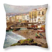 Fishing Boats On The Beach At Marinella Naples Throw Pillow