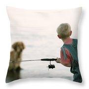 Fishing Boy Throw Pillow