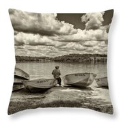 Fishing By The Boats 2 Throw Pillow by Jack Paolini