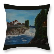 Fishing By The Falls Throw Pillow