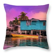 Fishing Camp Twilight Throw Pillow