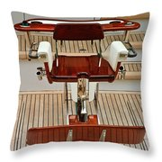 Fishing Chair On A Yacht Throw Pillow