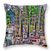 Fishing Docks Hdr Throw Pillow