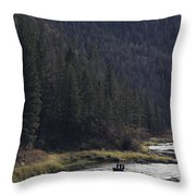 Fishing For Steelhead On The Salmon Throw Pillow