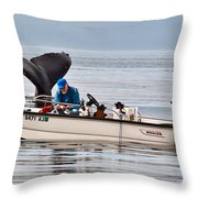 Fishing For Whales Throw Pillow