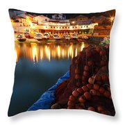 Fishing Harbour At Dusk Throw Pillow