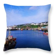 Fishing Harbour, Dunmore East, Ireland Throw Pillow