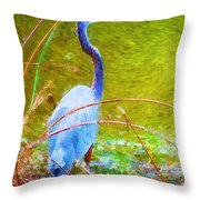 Fishing In The Reeds Throw Pillow