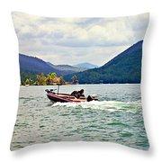Fishing On Burton Throw Pillow