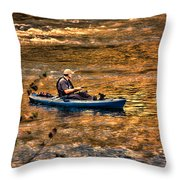 Fishing The Golden Hour Throw Pillow