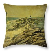 Fishing The Jetty - Island Beach State Park   Nj Throw Pillow