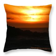 Fishing Vessel At Sunset Throw Pillow