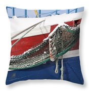 Fishing Vessel In Winter's Rest Throw Pillow