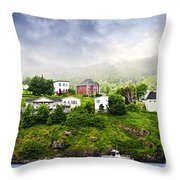 Fishing Village In Newfoundland Throw Pillow by Elena Elisseeva