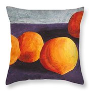 Five Peaches Throw Pillow by Dina Day