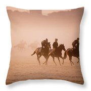 Five People Riding Thoroughbred Horses Throw Pillow