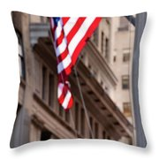 Flag On Broadway Throw Pillow