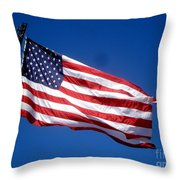 Flag On The Ladder Throw Pillow