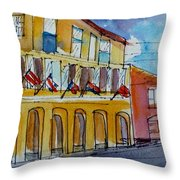 Flags On The Buildings Throw Pillow
