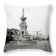 Flamboyant Clock Tower Throw Pillow
