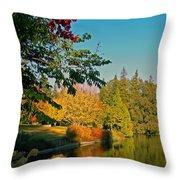 Flame Tree At Lake Spafford Throw Pillow