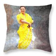 Flamenco Dancer In Yellow Throw Pillow