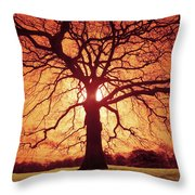 Flaming Oak Throw Pillow