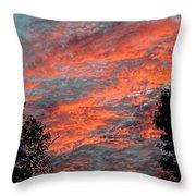 Flaming Sky Throw Pillow