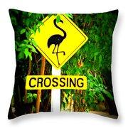 Flamingo Crossing Throw Pillow