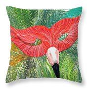 Flamingo Mask 2 Throw Pillow