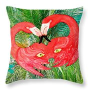 Flamingo Mask 7 Throw Pillow