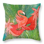 Flamingo Mask 8 Throw Pillow