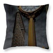 Flatiron Building And Clock Throw Pillow