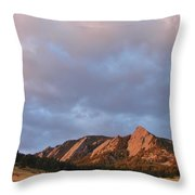Flatirons At Chautauqua In Early Morning Throw Pillow