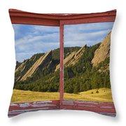 Flatirons Boulder Colorado Red Barn Picture Window Frame Photos  Throw Pillow