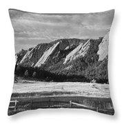 Flatirons From Chautauqua Park Bw Throw Pillow
