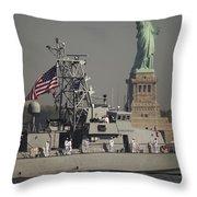 Fleet Week Vessels Pass By The Statue Throw Pillow