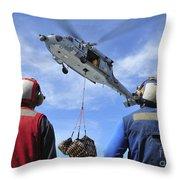 Flight Deck Personnel Wait For Supplies Throw Pillow