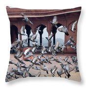 Flight Of Pigeons Inside The Jama Masjid In Delhi Throw Pillow