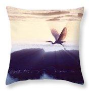 Flight Of The Egret V1 Throw Pillow