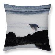 Flight Of The Egret V2 Throw Pillow