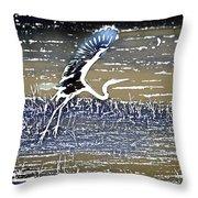 Flight Of The Egret V5 Throw Pillow