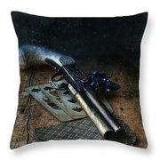 Flint Lock Pistol And Playing Cards Throw Pillow