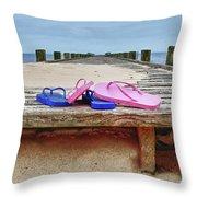Flip Flops On The Dock Throw Pillow