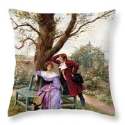 Flirtation Throw Pillow by Georges Jules Auguste Cain