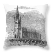 Floating Church, 1849 Throw Pillow