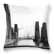 Floating Grain Elevators In Ny Throw Pillow