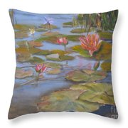 Floating Lillies Throw Pillow by Mohamed Hirji