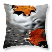 Floating Maple Leaves Throw Pillow